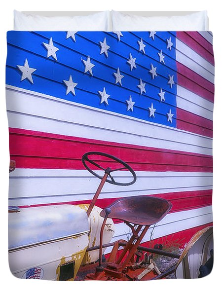 Tractor And Large Flag Duvet Cover