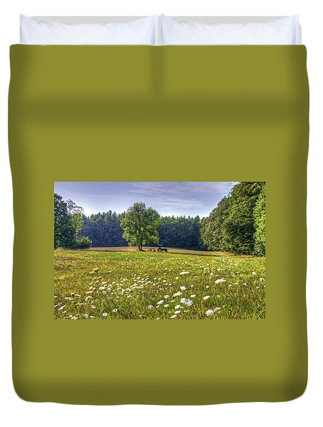 Duvet Cover featuring the photograph Tractor In Field With Flowers by Wayne Marshall Chase