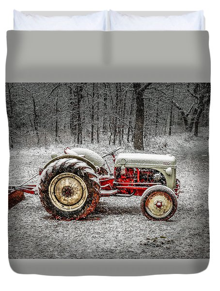 Tractor In The Snow Duvet Cover by Doug Long