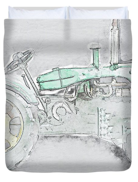 Tractor On Grey Background Duvet Cover