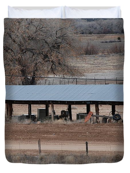 Tractor Port On The Ranch Duvet Cover by Rob Hans