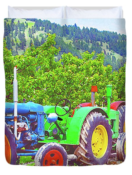Tractor Row Duvet Cover