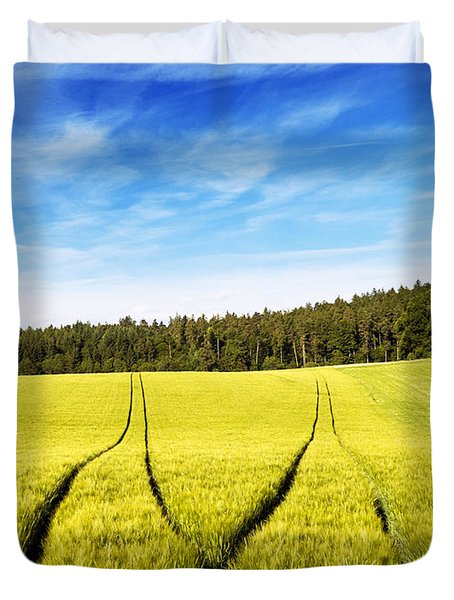 Tractor Tracks In Wheat Field Duvet Cover