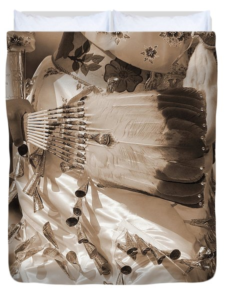 Duvet Cover featuring the photograph Traditional Dancer In Sepia by Heidi Hermes