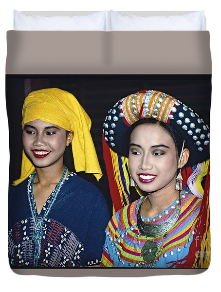 Duvet Cover featuring the photograph Traditional Dressed Thai Ladies by Heiko Koehrer-Wagner