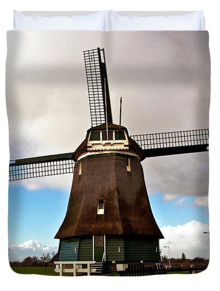 Traditional Dutch Windmill Near Volendam  Duvet Cover