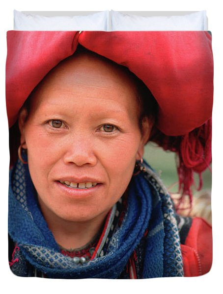 Traditional Fashion Of A Red Dzao Woman Duvet Cover