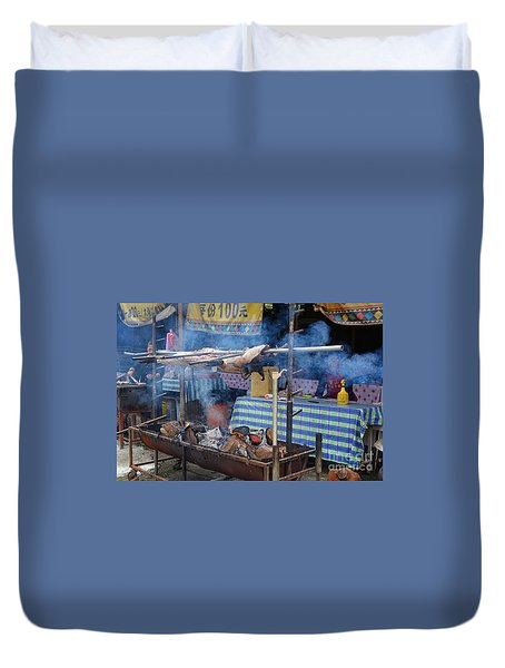 Traditional Market In Taiwan Native Village Duvet Cover