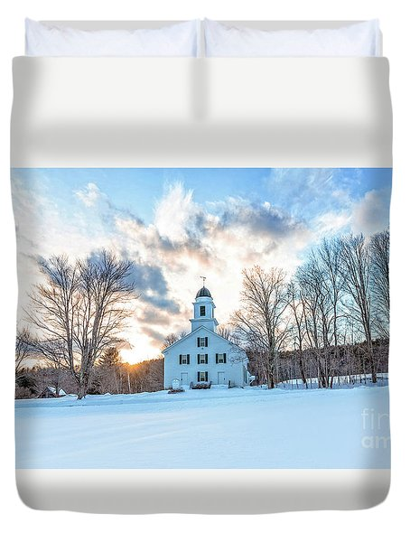 Duvet Cover featuring the photograph Traditional New England White Church Etna New Hampshire by Edward Fielding
