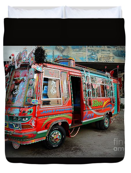 Traditionally Decorated Pakistani Bus Art Karachi Pakistan Duvet Cover