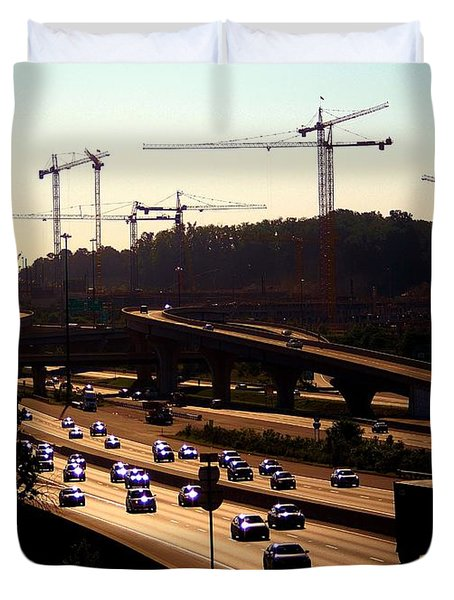 Traffic And Cranes Duvet Cover