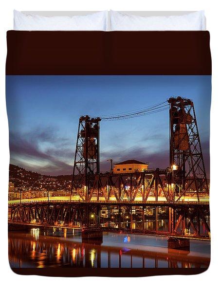 Traffic Light Trails On Steel Bridge Duvet Cover by David Gn