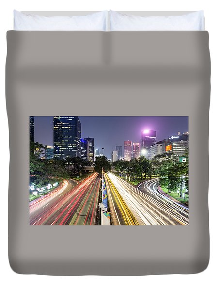 Traffic Night Rush In Jakarta, Indonesia Capital City.  Duvet Cover