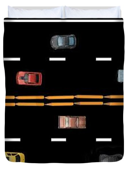 Duvet Cover featuring the photograph Traffic - Panorama by Nikolyn McDonald