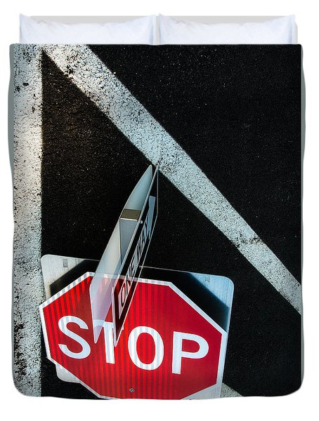 Duvet Cover featuring the photograph Traffic Signs And Lines Together by Gary Slawsky