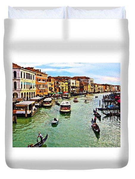 Traghetto, Vaporetto, Gondola  Duvet Cover by Tom Cameron
