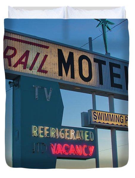 Trail Motel At Sunset Duvet Cover