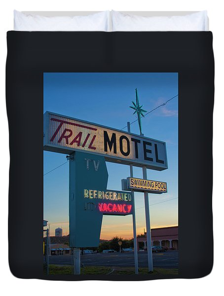 Duvet Cover featuring the photograph Trail Motel At Sunset by Matthew Bamberg