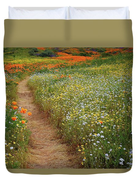 Duvet Cover featuring the photograph Trail Of Wildflowers At Diamond Lake In California by Jetson Nguyen