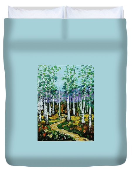 Trail Through The Aspen Grove Duvet Cover by Mike Caitham