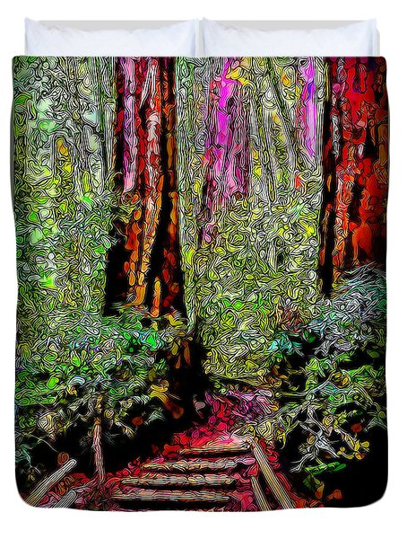 Duvet Cover featuring the digital art Trail Through The Redwoods - Tamalpais California by Joel Bruce Wallach