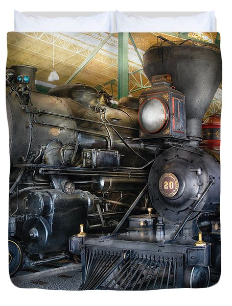 Train - Engine - Steam Locomotives Duvet Cover by Mike Savad
