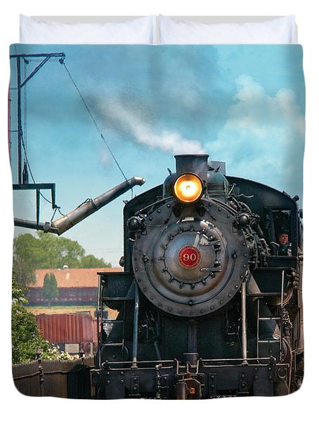 Train - Engine - Strasburg Number 9 Duvet Cover by Mike Savad