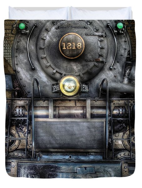 Train - Engine -1218 - Norfolk Western Class A - 1218 - Front View Duvet Cover by Mike Savad