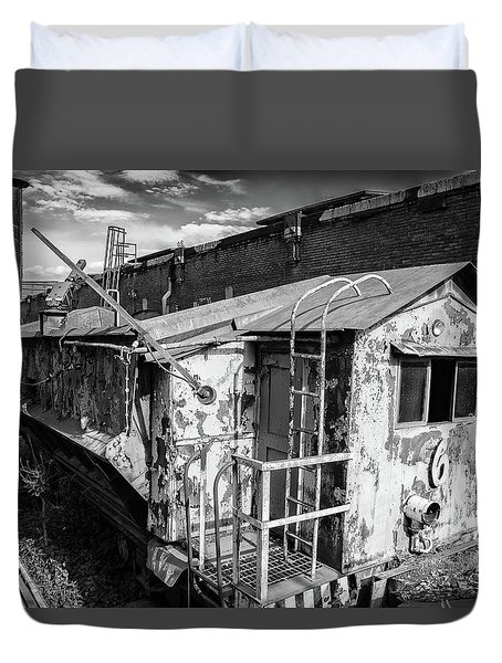 Train 6 In Black And White Duvet Cover