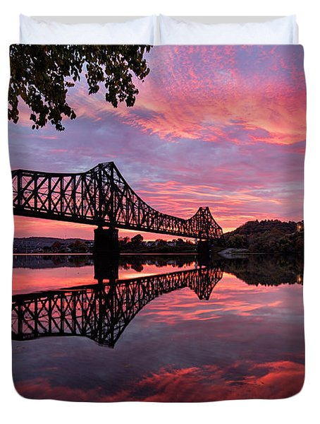 Train Bridge At Sunrise  Duvet Cover by Emmanuel Panagiotakis