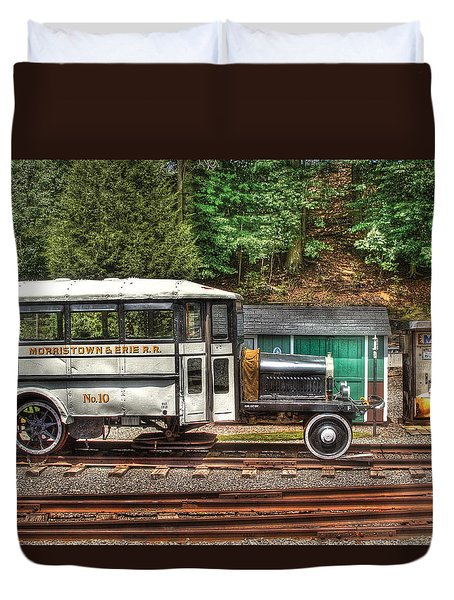 Train - Car - The Rail Bus Duvet Cover by Mike Savad
