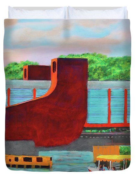 Train Over The New River Duvet Cover