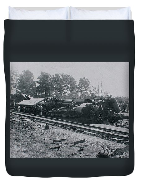 Duvet Cover featuring the photograph Train Derailment by Jeanne May