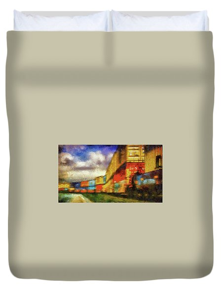 Train Freight Cars Duvet Cover by Joseph Hollingsworth