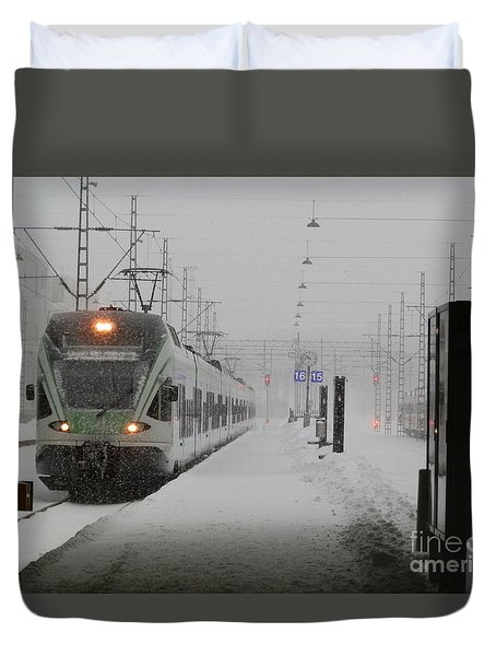 Train In Helsinki Duvet Cover