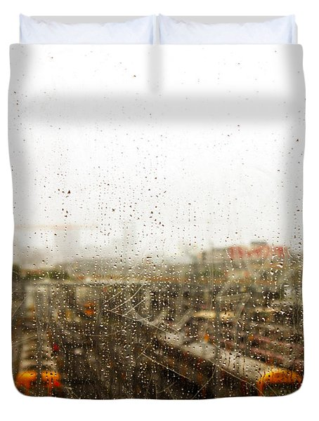 Train In The Rain Duvet Cover