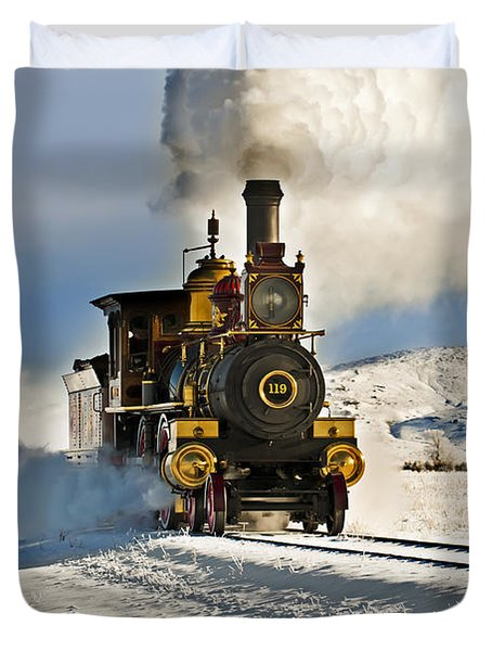 Train In Winter Duvet Cover