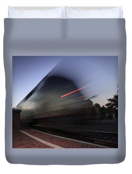 Train Pulling Out Of The Station Duvet Cover
