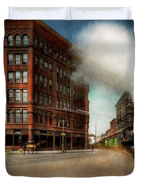 Duvet Cover featuring the photograph Train - Respect The Train 1905 by Mike Savad