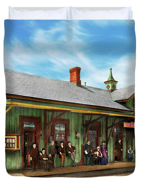 Duvet Cover featuring the photograph Train Station - Garrison Train Station 1880 by Mike Savad