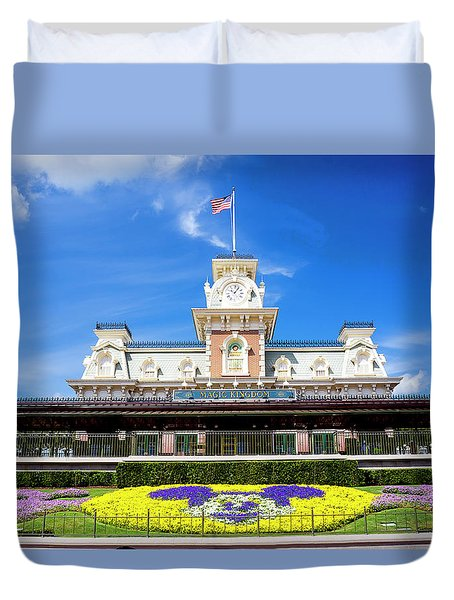 Duvet Cover featuring the photograph Train Station by Greg Fortier