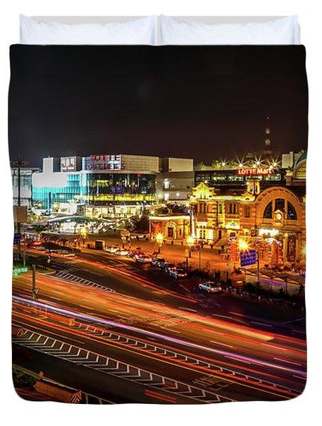 Train Station In Seoul Duvet Cover