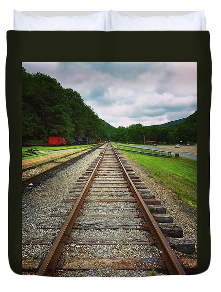 Duvet Cover featuring the photograph Train Tracks by Linda Sannuti
