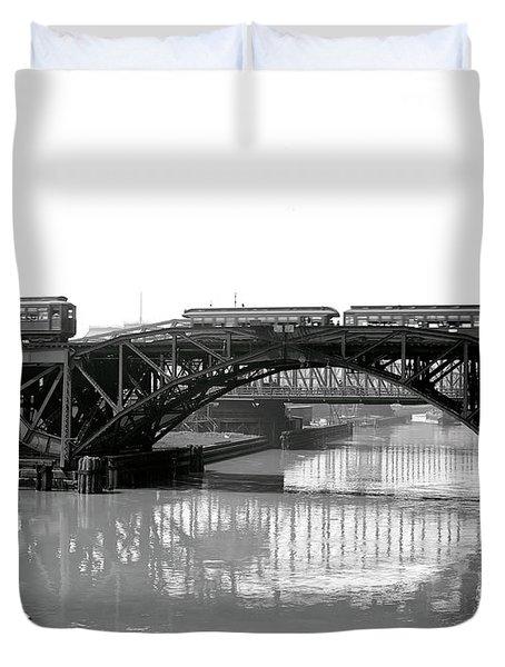 Duvet Cover featuring the photograph Trains Cross Jack Knife Bridge - Chicago C. 1907 by Daniel Hagerman