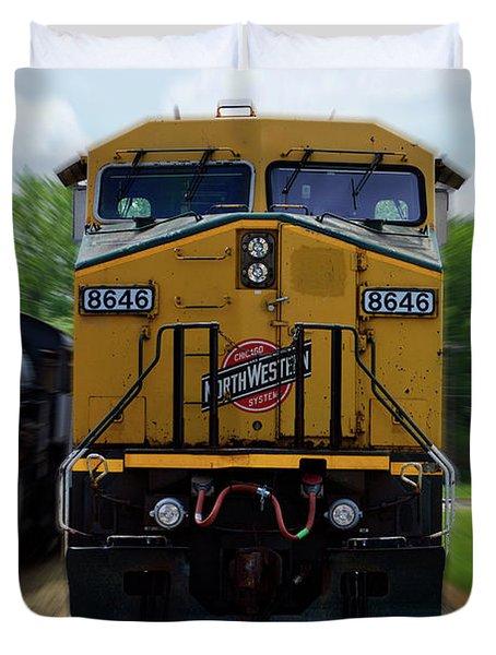 Trains Engine 8646 Northwestern Duvet Cover