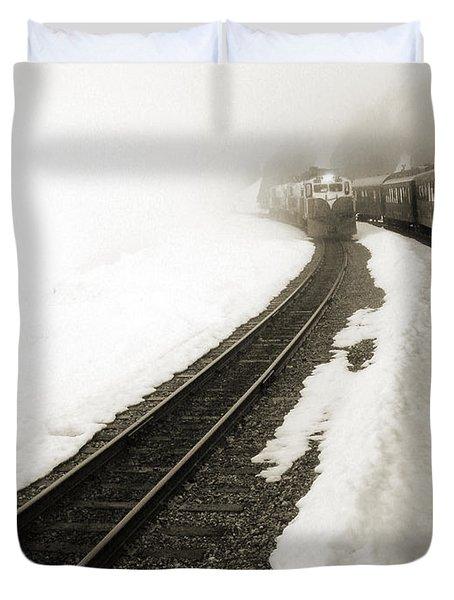 Trains Passing Duvet Cover by Susan Lafleur