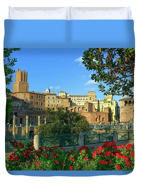 Trajan's Forum, Traiani, Roma, Italy Duvet Cover