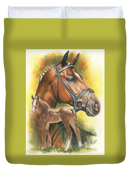 Duvet Cover featuring the mixed media Trakehner by Barbara Keith