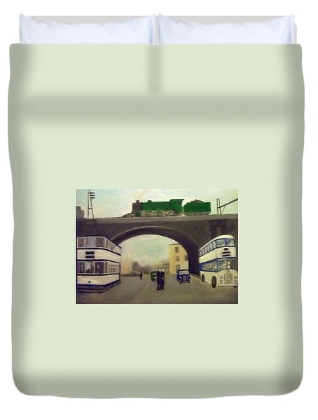 1950s Tram, Locomotive, Bus And Cars In Sheffield  Duvet Cover