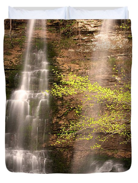 Tranquil Falls In Vertical Duvet Cover by Tamyra Ayles